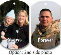 custom photo dog tag and two photos